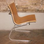 "Claudio Salocchi ""Lia"" chair in natural leather and aluminium"