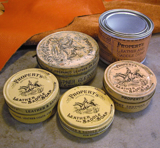 Dario's selection of old saddle-soap cans
