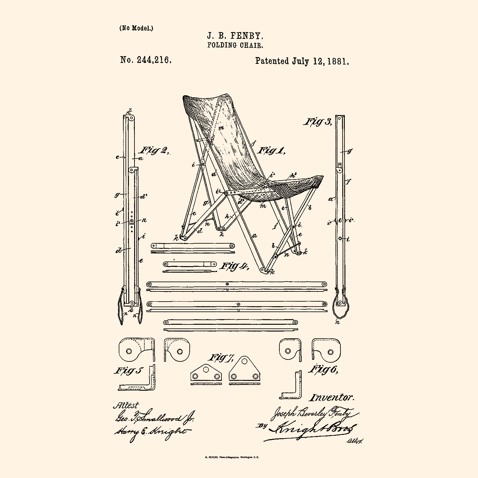 US Patent For J. B. Fenbyu0027s Folding Chair