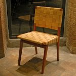 "Jens Risom ""Side Chair"" in natural leather and wood"