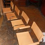Various chairs in the stile of Mart Stam in natural leather