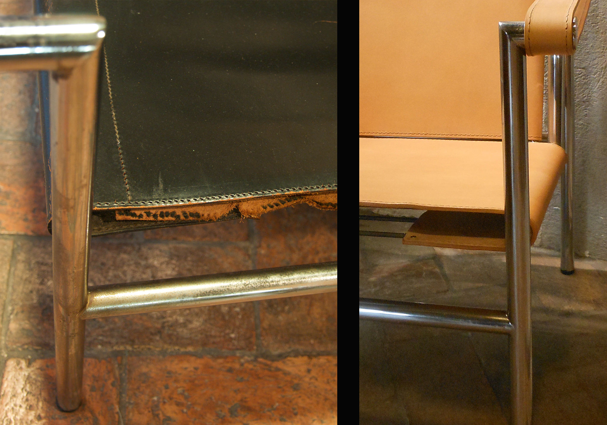 "Jeanneret, Le Corbusier and Perriand LC1 ""Basculant"" - before and after - front detail"