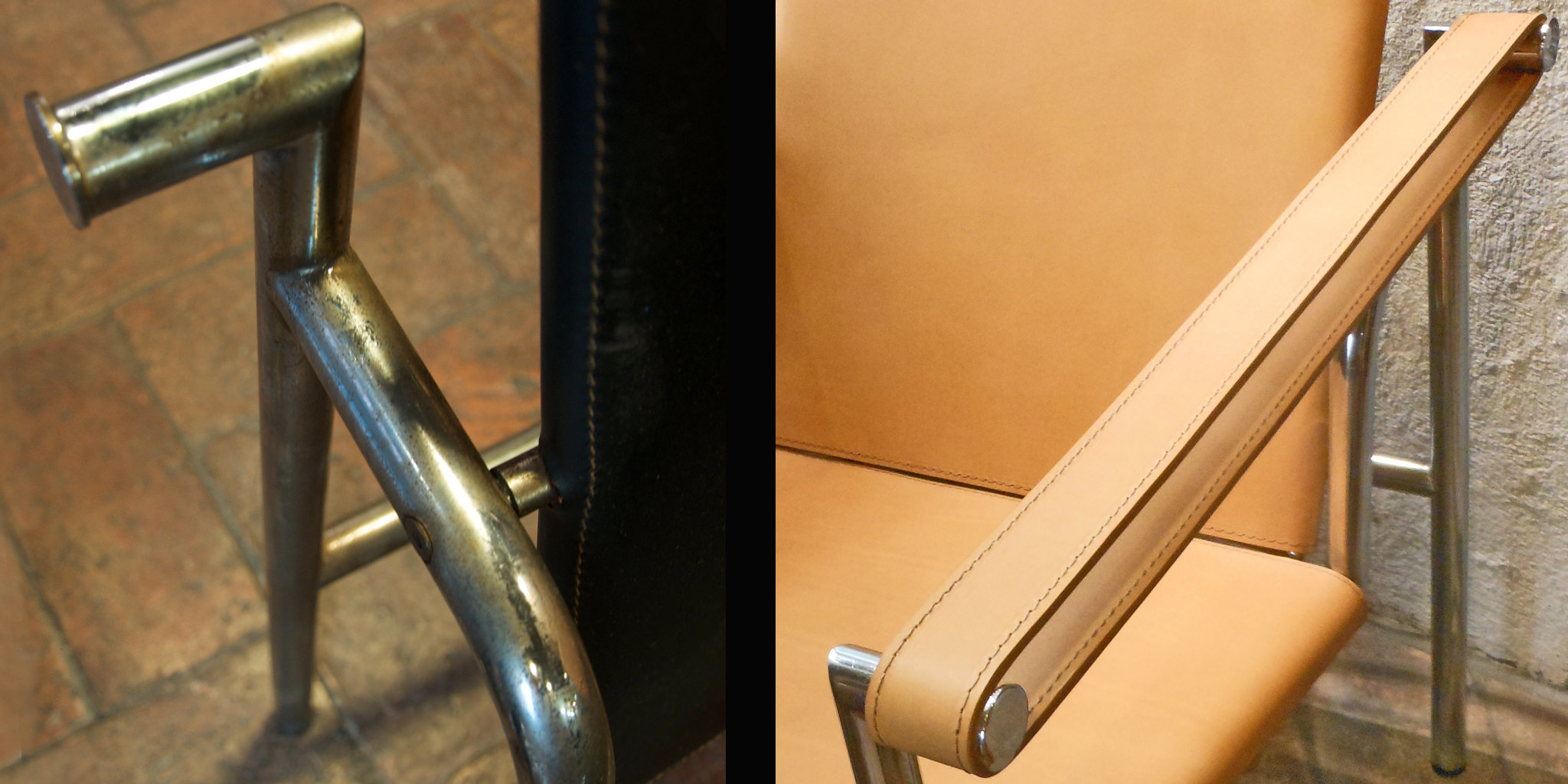 """Jeanneret, Le Corbusier and Perriand LC1 """"Basculant"""" - before and after - side detail"""