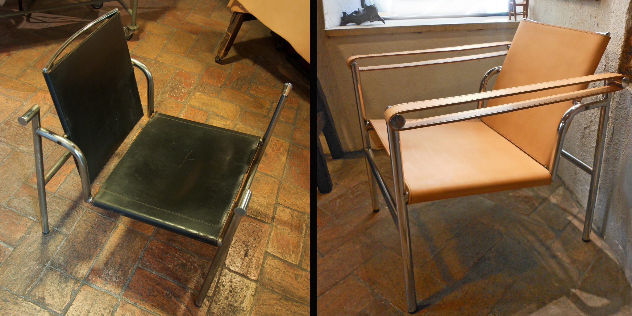 "Jeanneret, Le Corbusier and Perriand LC1 ""Basculant"" - before and after - side"