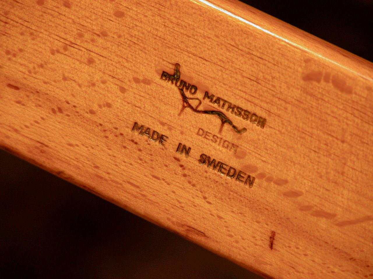 "Bruno Mathsson brand on a ""Pernilla"" chair"