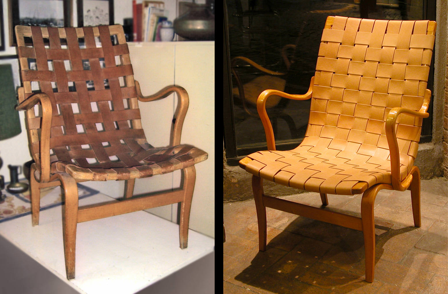 """Before and after: Bruno Mathsson """"Eva"""" chair in natural leather and wood"""