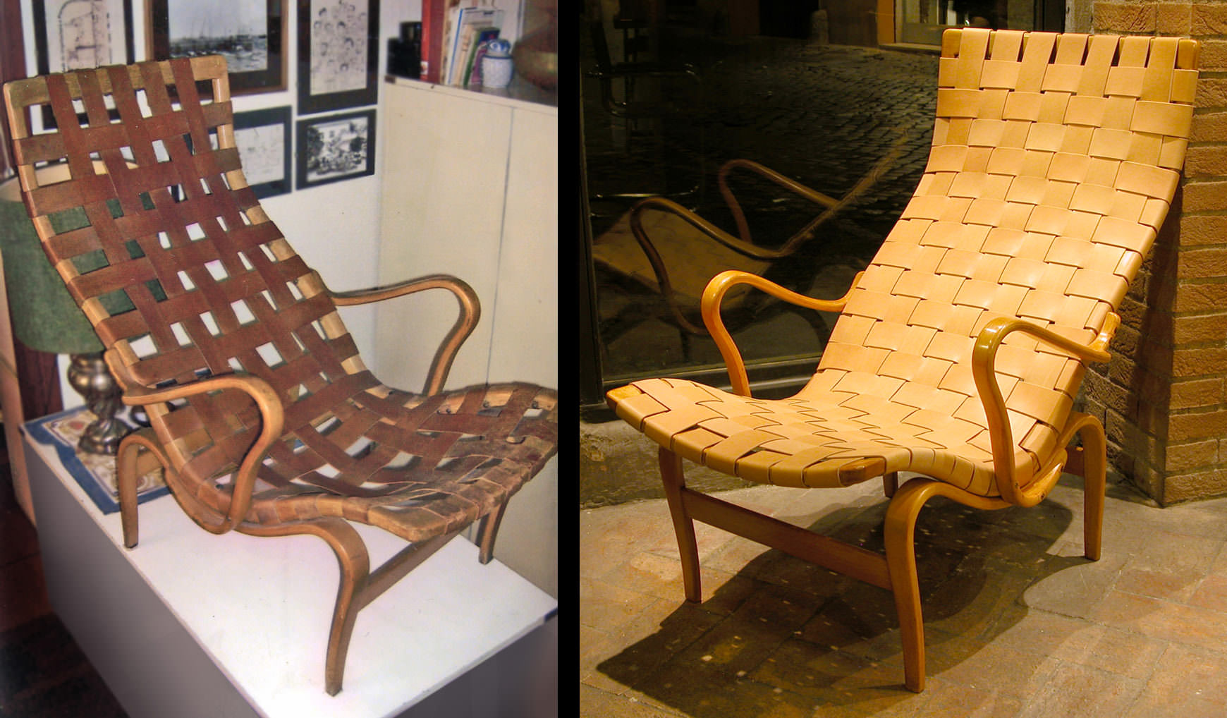 """Before and after: Bruno Mathsson """"Pernilla"""" chair in natural leather and wood"""