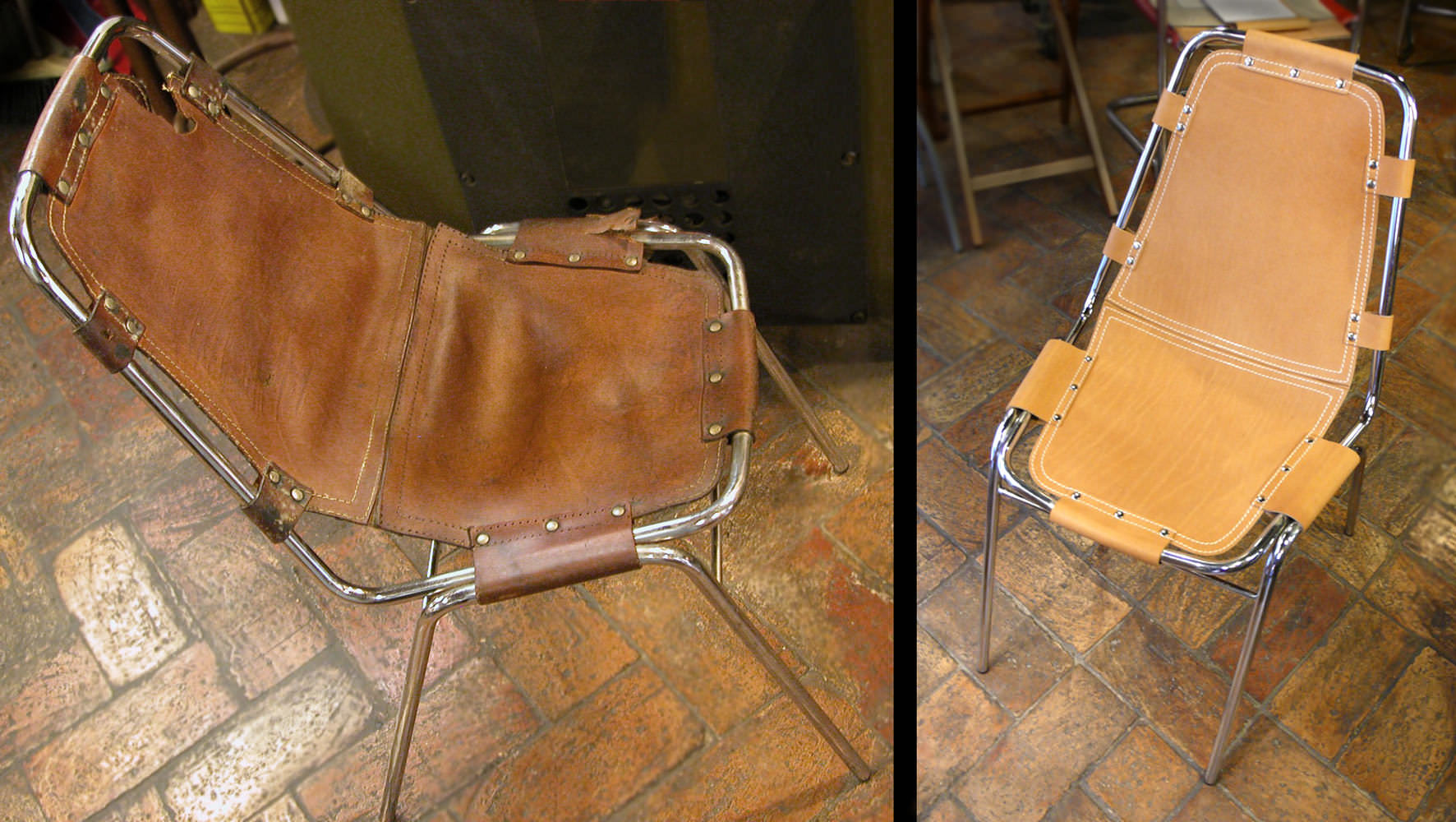 "Charlotte Perriand ""Les Arcs"" chair in natural leather and chrome - before and after"