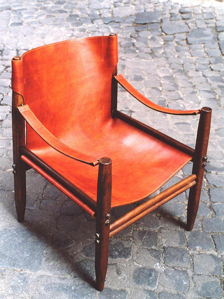 Franco Legler field chair in deep tan leather and wood