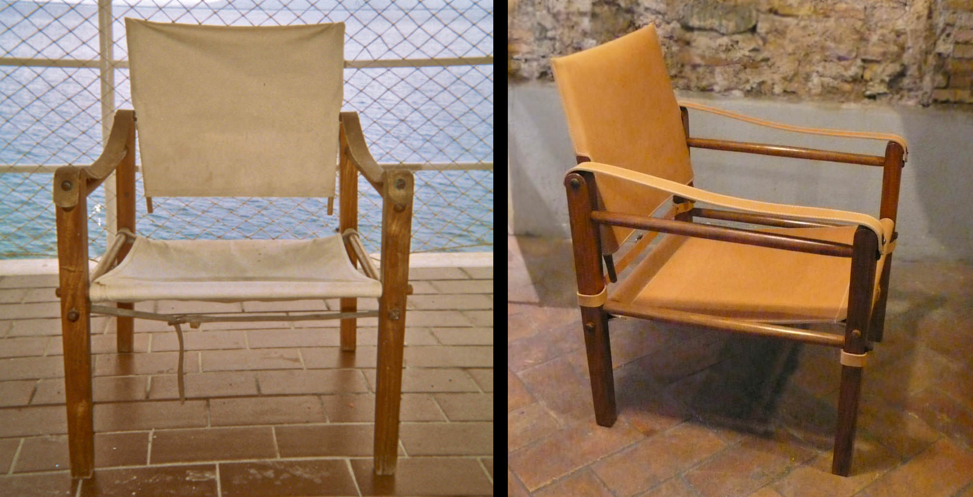 Field chair in natural leather and wood - before and after