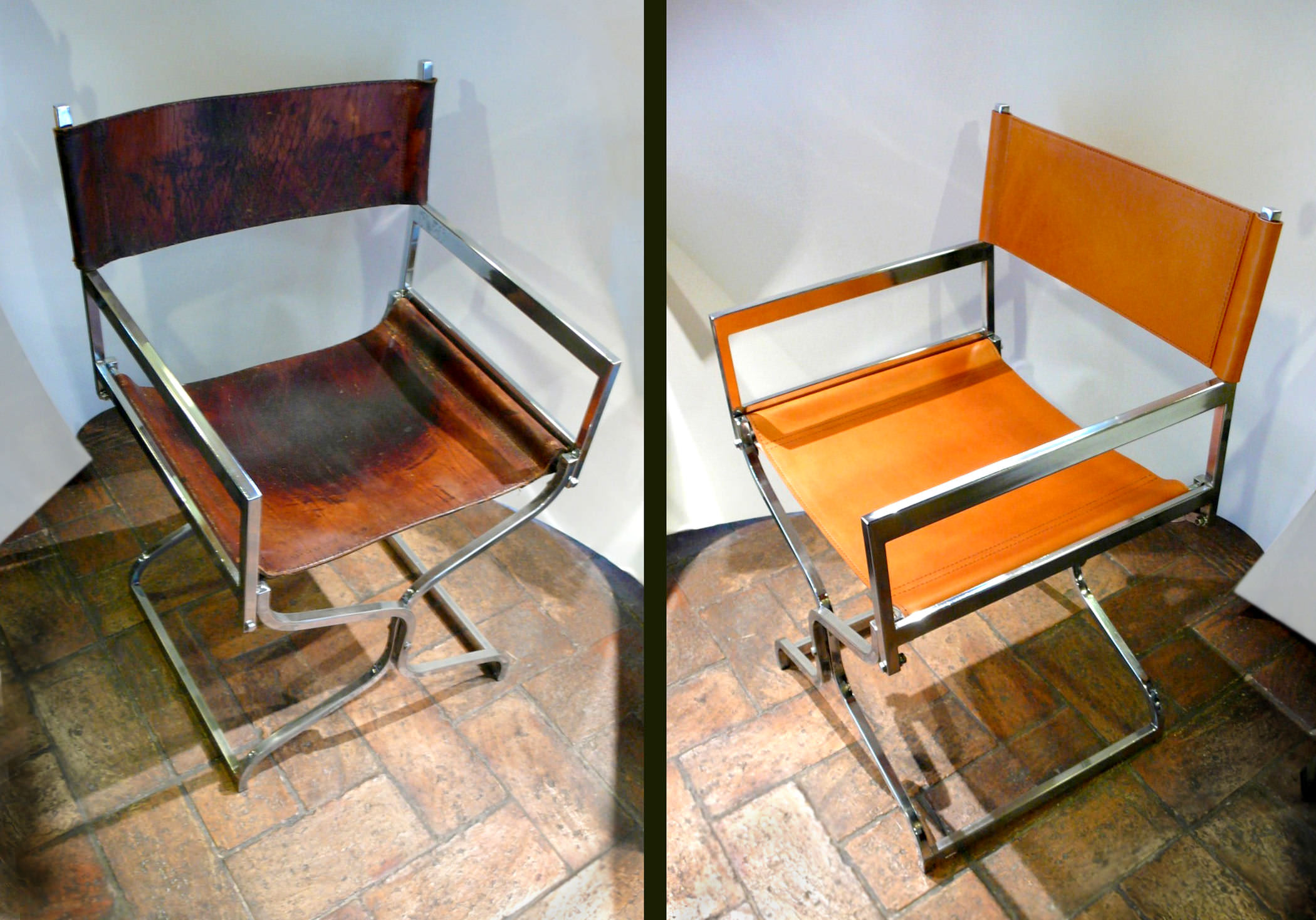 Folding chair in amber leather and chrome - before and after