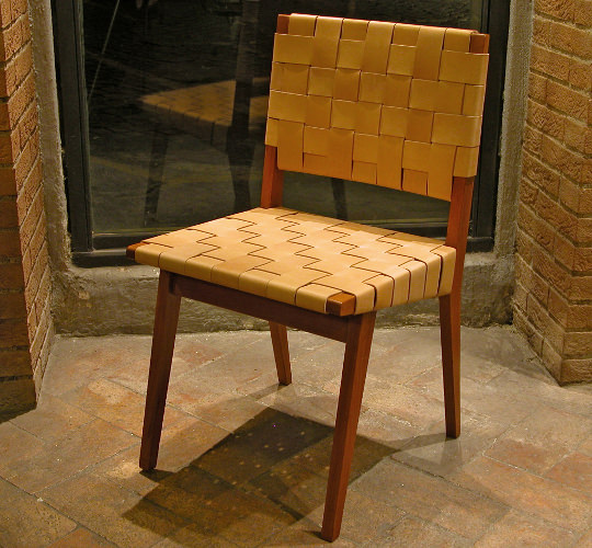 Jens Risom chair in natural leather and wood