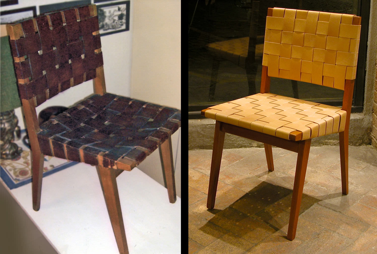"Jens Risom ""Side Chair"" in natural leather and wood - before and after"