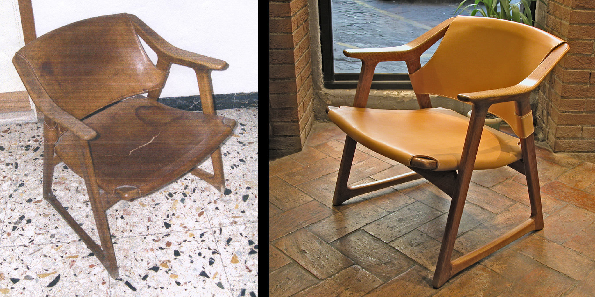 "Rolf Hesland ""Fox"" chair in natural leather and wood - before and after"